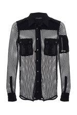 Здравствуйте!Длина рубашки DOLCE & GABBANA по спинке 72 см.Сетка сделана из полиэстра,карманы,плечи,манжеты из льна.С уважением, служба поддержки клиентов JUSTMODA.RU