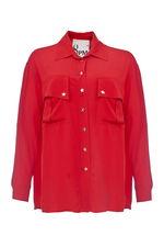 Рубашка очень приятная к телу. Расцветка как на фото, сочно-красная. Размер в размер. Спасибо, я довольна покупкой!Александра.