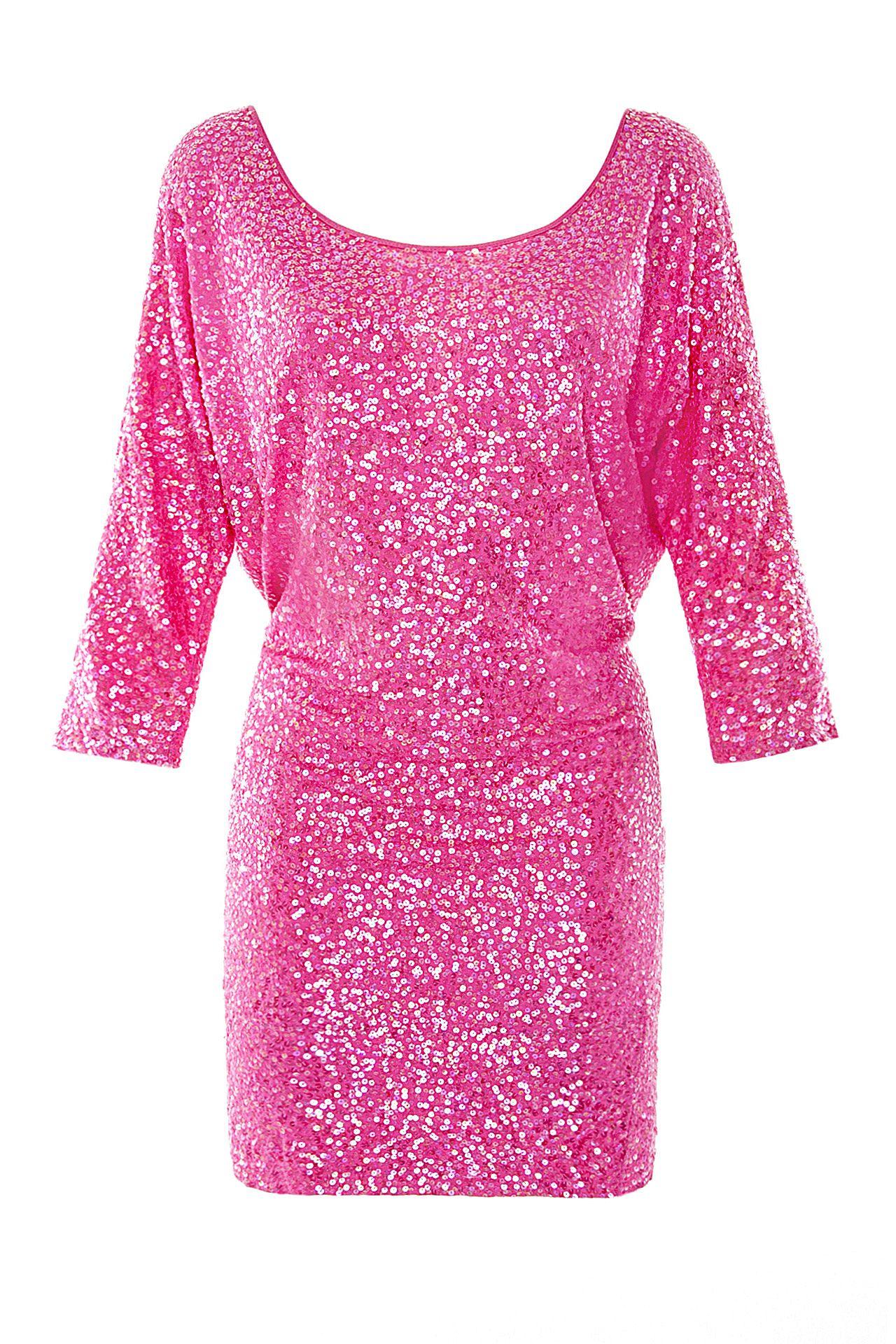 Розовое платье в паетках